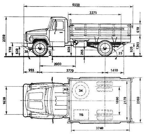 Самосвалы ГАЗ-3307: устройство и технические характеристики