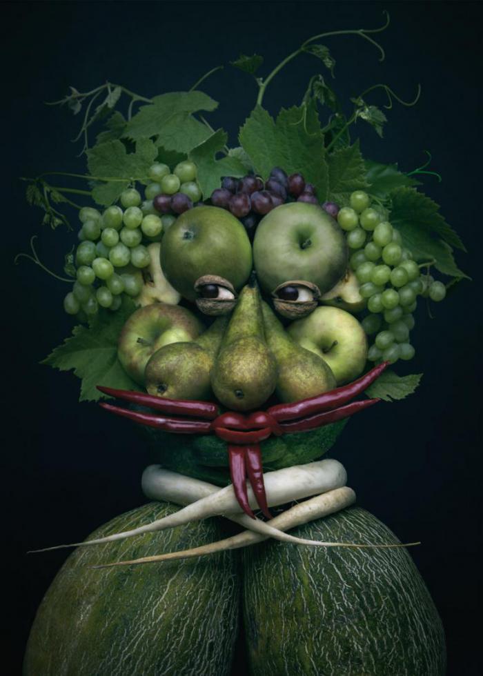 Польская художница создает из фруктов и овощей потрясающие портреты