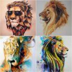 Популярная тату лев на икре