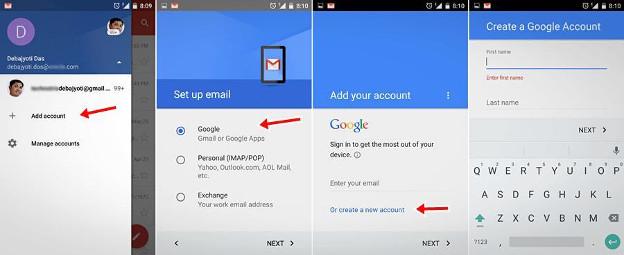 Аккаунт Google Gmail на Android-устройстве