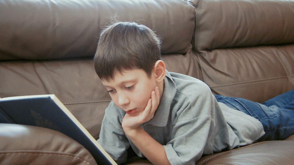Школьник читает книгу