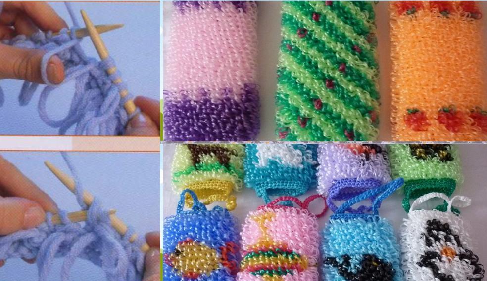 вязание мочалки спицами лохматой мочалки просто