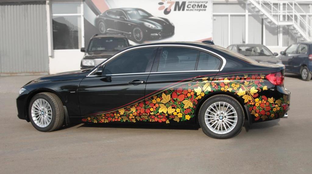 Машина с хохломской росписью