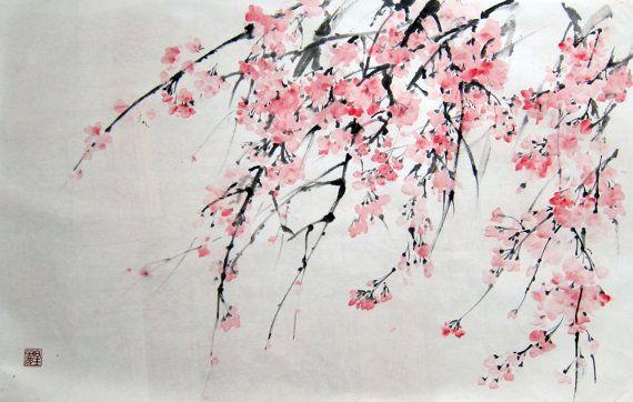 рисунок с цветной тушью