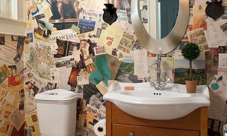рулонная отделка на стенах туалета