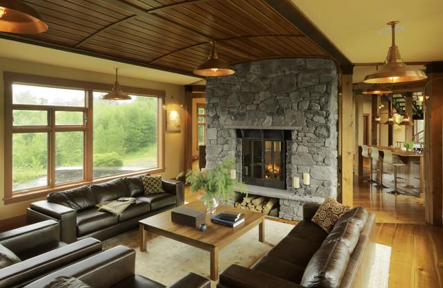 природный дизайн гостиной в американском стиле