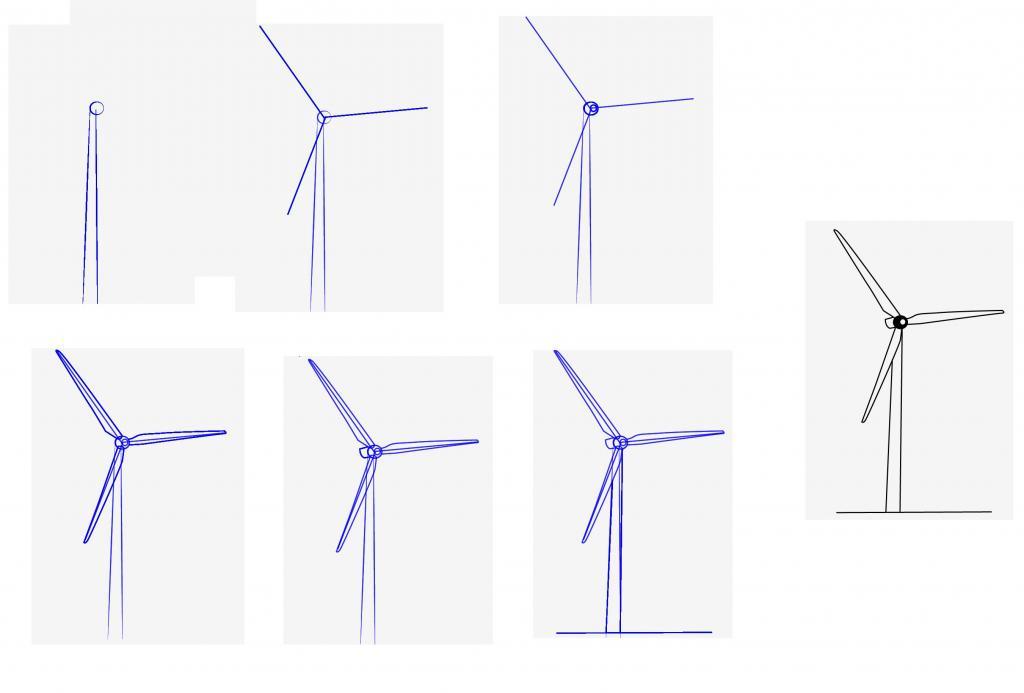 как нарисовать ветряную мельницу