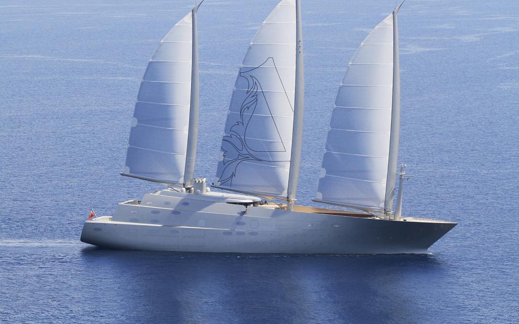 На фото запечатлена парусная яхта