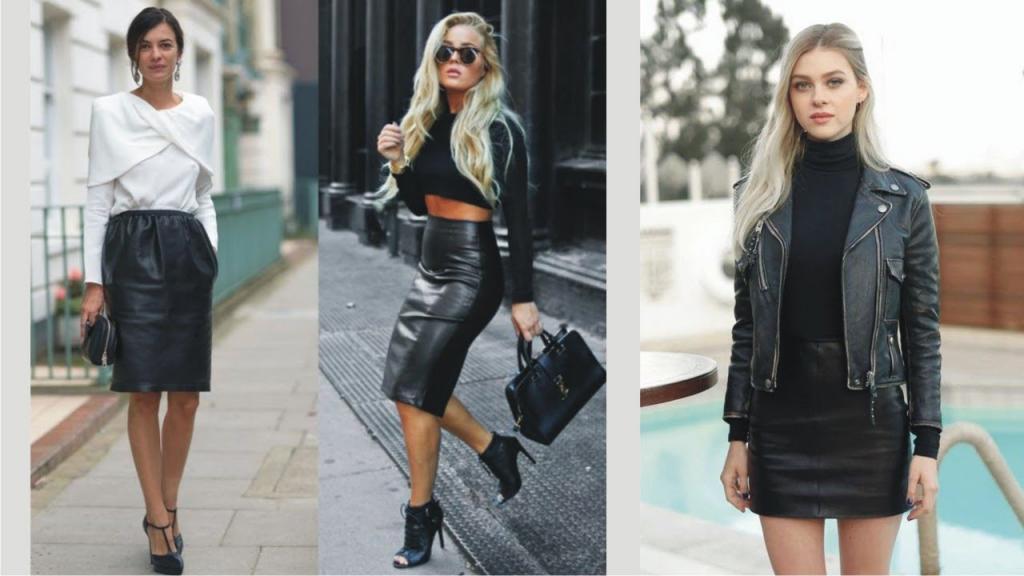 модные модели кожаных юбок